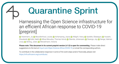 Day 15: Harnessing the Open Science infrastructure for an efficient African response to COVID-19 [preprint]